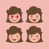 Little girls emoticon set kawaii characters. Vector illustration design Royalty Free Stock Image