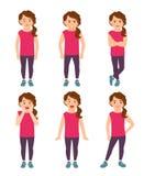 Little girls emotions illustration Royalty Free Stock Image