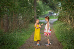 Little girls excitedly talking standing in the green alley. Royalty Free Stock Photography