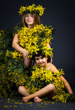 Little girls with floral dress Stock Image