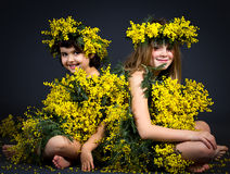 Little girls with floral dress Stock Photography