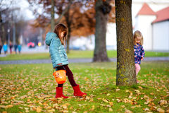 Little girls gathering acorns for crafting and playing on beautiful autumn day Stock Image
