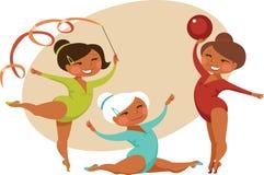 Little girls gymnasts. Three Little girls gymnasts cartoon style Stock Image
