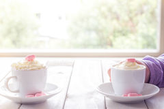 Little Girls Hands Holding Hot Chocolate Stock Photography