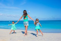 Little girls and happy mother during beach Royalty Free Stock Images