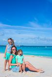 Little girls and happy mother during tropical Royalty Free Stock Photography