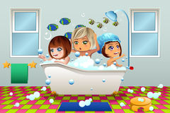 Little Girls Having a Bubble Bath Royalty Free Stock Photos