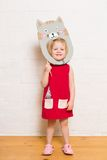 Little girls holding cat mask on white background royalty free stock photos