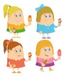 Little girls with ice cream, set Stock Image