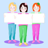 Little girls. Illustration of little girls with white banners Stock Images