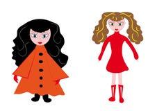 Little girls on the isolated background. Illustration Stock Photo