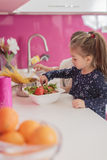 Little girls in the kitchen Royalty Free Stock Image