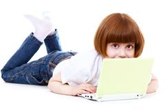 Little girls with a laptop Royalty Free Stock Image