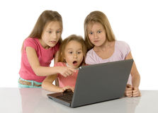 Little girls with laptop Stock Image