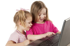 Little girls with laptop Royalty Free Stock Photography