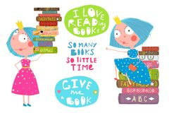 Little Girls Love Reading Books Quotes. Cute fairy tale princesses with books and lettering signs. Vector cartoon Royalty Free Stock Images