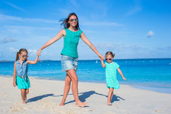 Little girls with mother enjoy summer vacation Stock Photography