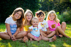 Little girls in nature Stock Photography