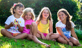 Little girls in nature Stock Photos