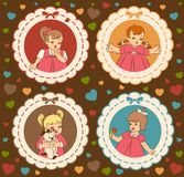 Little girls on the ornate background. Vintage cartoon little girls on the ornate background Stock Photos