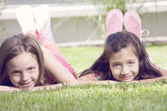 Little girls outdoors Stock Photography