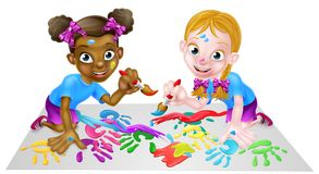 Little Girls With Paints. Two cartoon little girls, one black one white, painting with paintbrushes Royalty Free Stock Photo