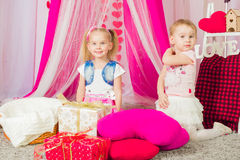 Little girls in a  pink skirt Royalty Free Stock Photo