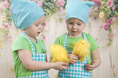Little girls play with yellow chicks. Two little adorable little girls play with yellow chicks Royalty Free Stock Images