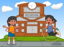 Little girls playing hula hop and jumping rope in front of their school cartoon. Full color Royalty Free Stock Photo