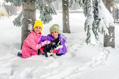 Little girls playing with Husky dog on the snow Stock Images