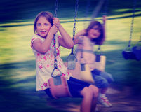 Little Girls Playing at Park Instagram Stock Photo