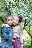 Little girls playing in spring park tree outdoor Royalty Free Stock Photo