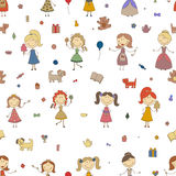 Little girls playing vector. Cartoon drawing of children. Daughter and mother. Girls seamless pattern background. Royalty Free Stock Photos