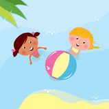 Little Girls Playing With Ball In The Sea Royalty Free Stock Image
