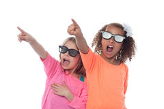 Little girls pointing away Royalty Free Stock Images
