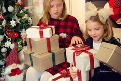 Little girls preparing gifts Stock Image