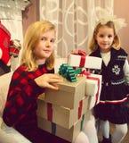Little girls preparing gifts Royalty Free Stock Image