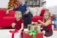 Little girls with presents Stock Photography
