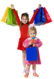 Little girls with purchases Stock Photo