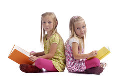 Little girls reading books Royalty Free Stock Photography