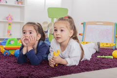 Little girls in the room Stock Photo