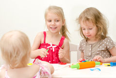 Llittle girls sculpting Stock Image