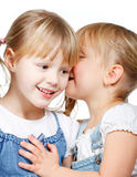 Little girls sharing a secret. Portrait of little girl  telling a secret to her friend over a white background Stock Image
