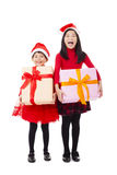 little girls showing christmas gift box Stock Image