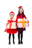 little girls showing christmas gift box Royalty Free Stock Images