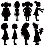 Little girls silhouettes set. Royalty Free Stock Image