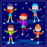 Little girls skating on the blue background. Vector illustration Stock Images