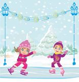 Little girls skating on ice rink. Vector Illustration Stock Photos