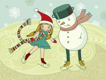 Little girls and snowman ice-skating. Created in vectoor Stock Photo