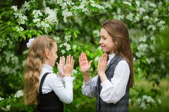Little girls in stylish school uniforms play outdoors in the blossoming apple park stock photography